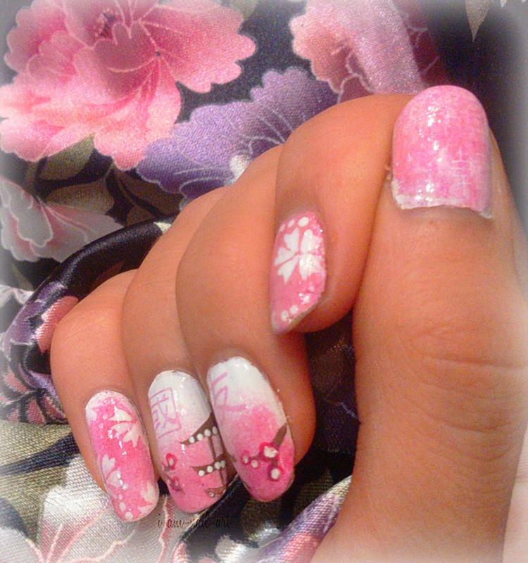 Japan - Sakura nail art by i-am-nail-art