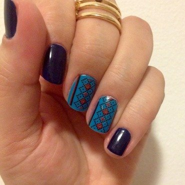 Royal aztec nail art by Elyana