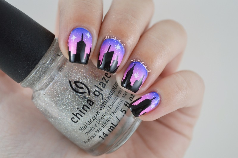 NYC skyline nail art by Julia