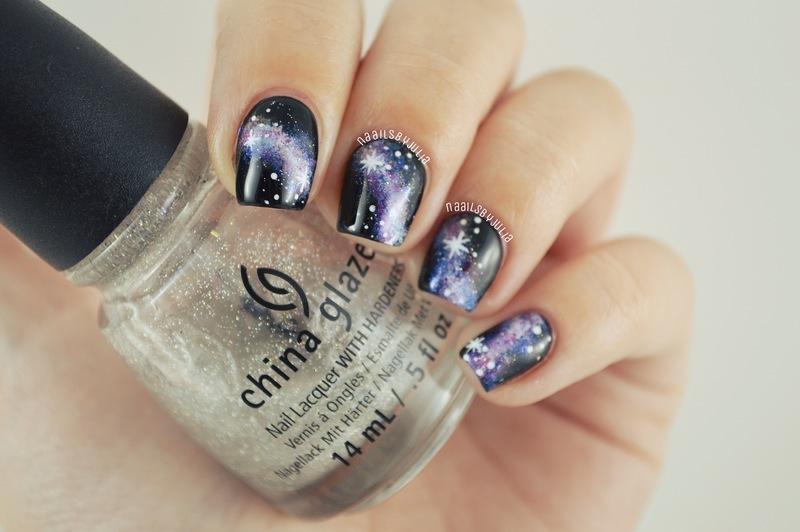 Galaxies nail art by Julia