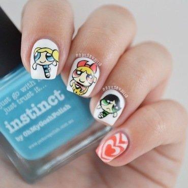 Powerpuff girls nail art by Julia