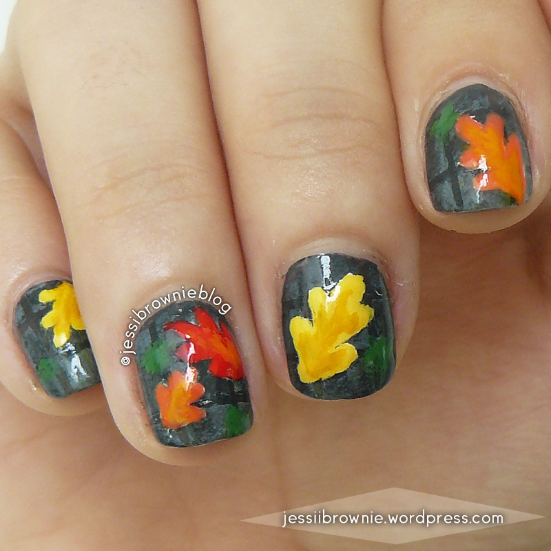 Fallen Leaves nail art by Jessi Brownie (Jessi)