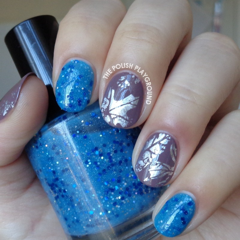 The Polish Playground Glittery Autumn Leaf Nail Art: Blue Glitter And Taupe With Holo Leaves Nail Foil Nail Art
