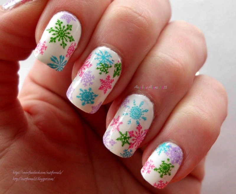 Colorful Snowflakes nail art by Angelique Adams