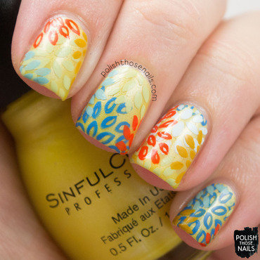 Sinful colors burst of fresh flair yellow shimmer floral nail art 3 thumb370f