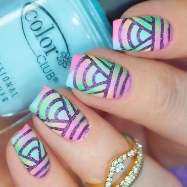 Colorful Mani nail art by Lou