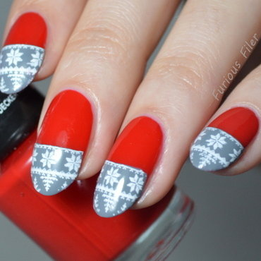 Christams French nail art by Furious Filer