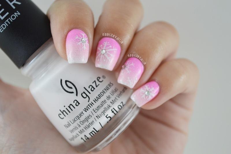 Girly winter mani nail art by Julia