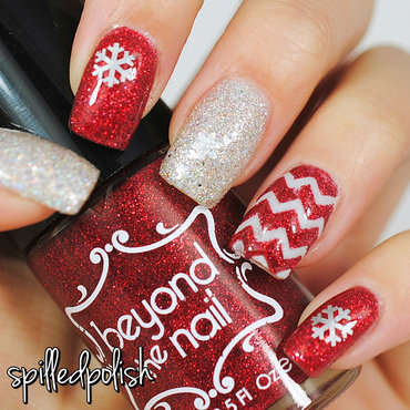 Red & Silver Christmas Nails nail art by Maddy S