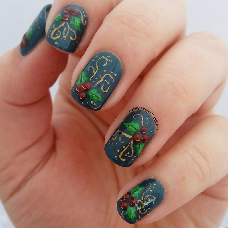 Christmas holly nail art by funky fingers nail art nailpolis christmas holly nail art by funky fingers nail art prinsesfo Gallery