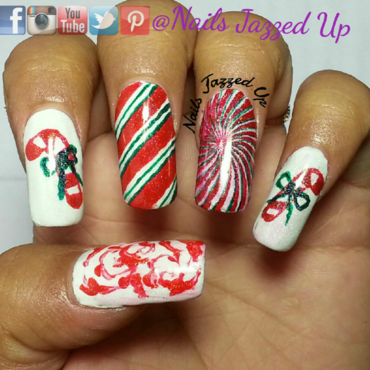 Candy Canes nail art by Divya Pandey