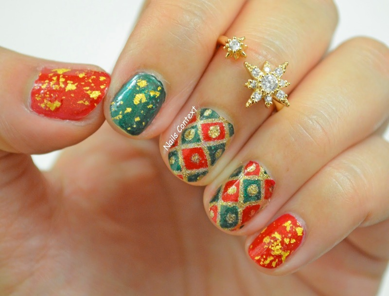 Holiday Grid  nail art by NailsContext
