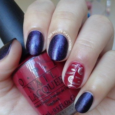 Purple with Peacock Feather Nail Foil Accent nail art by Lisa N