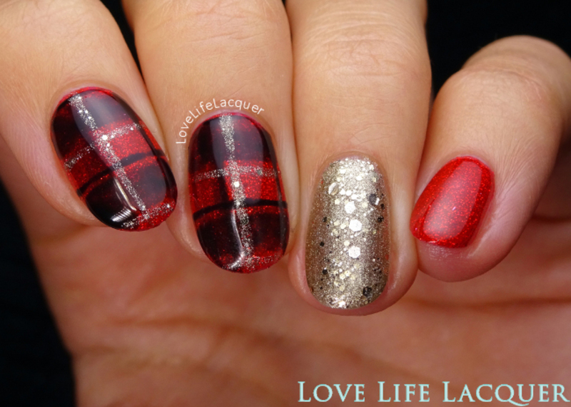 Plaid nails in gel polish nail art by Love Life Lacquer