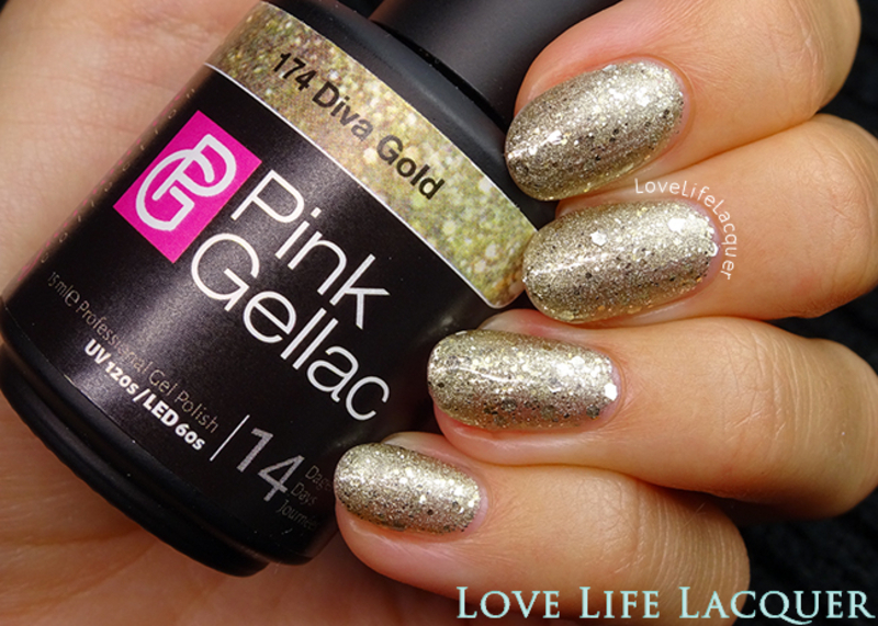 Pink Gellac Diva Gold Swatch by Love Life Lacquer