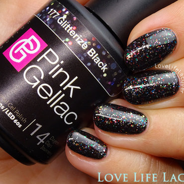 Pink Gellac Glitterize Black Swatch by Love Life Lacquer