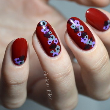 Autumn/winter floral  nail art by Furious Filer