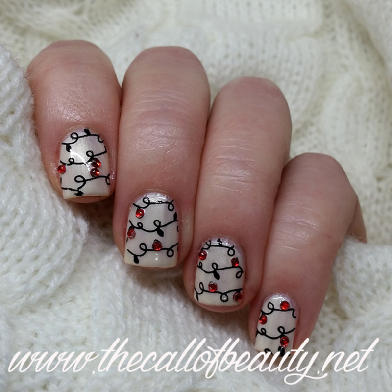Christmas Lights nail art by The Call of Beauty