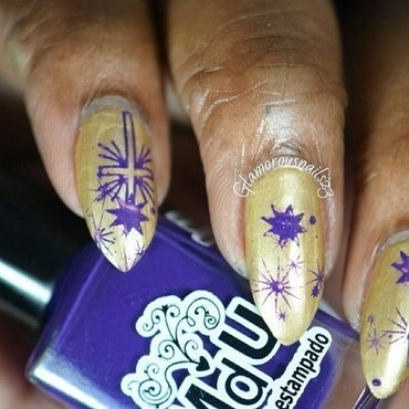 Purple & Gold nail art by glamorousnails23