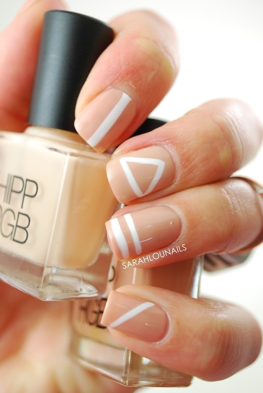 Nude Geometric Nails! nail art by Sarah S