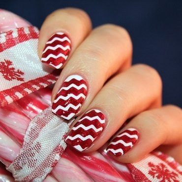 Candy Cane nail art by Jane