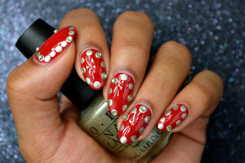 Holiday Dots nail art by Fatimah