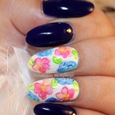 Watercolour Floral nail art by  Kyleigh  'Handmade By Kyleigh'