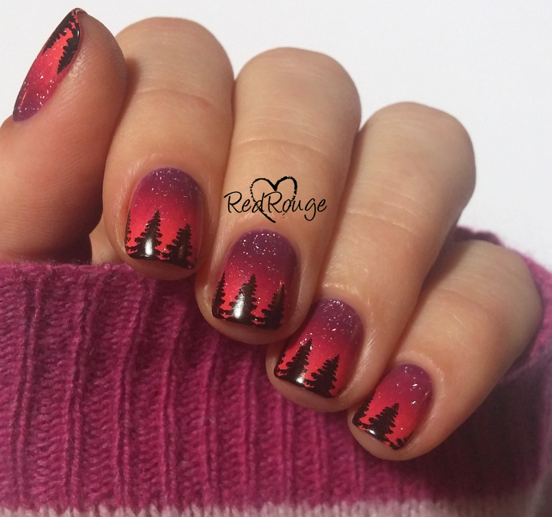 Sunset in the magical forest nail art by RedRouge