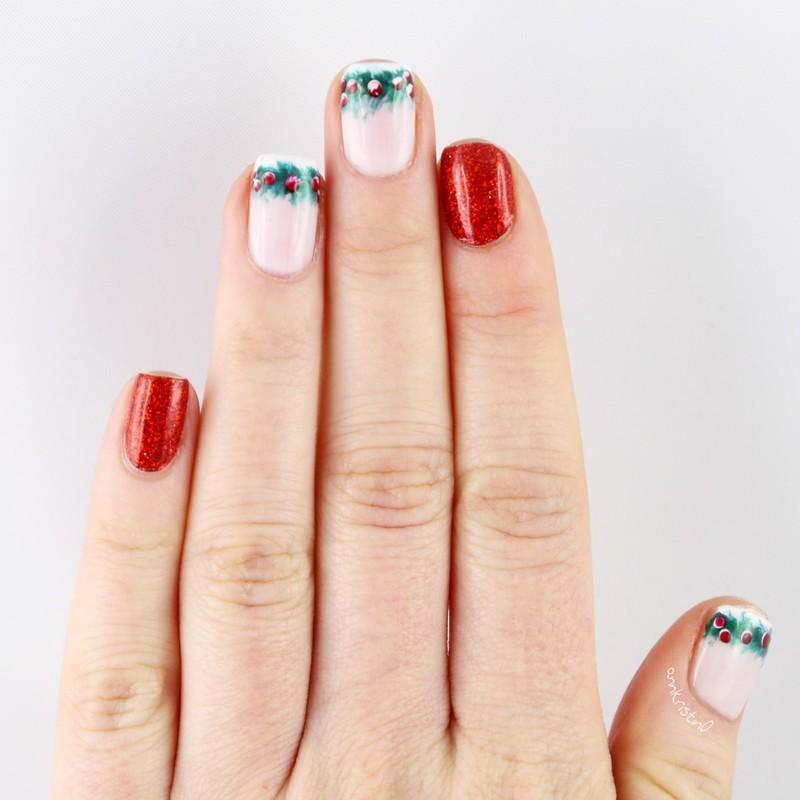 Mistletoe French nail art by Ann-Kristin