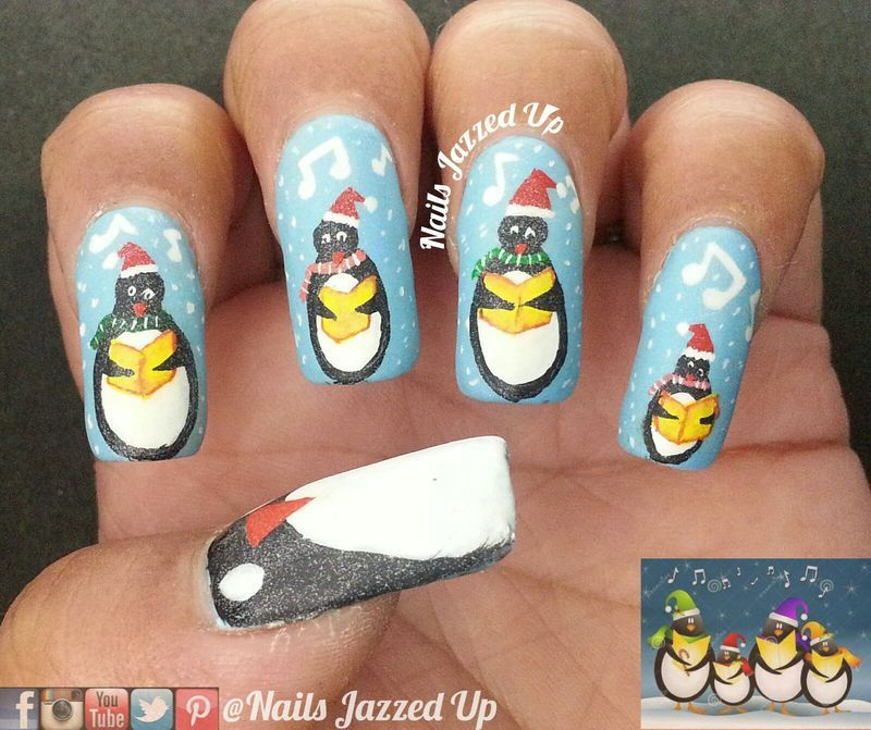 Penguins Singing Carols nail art by Divya Pandey