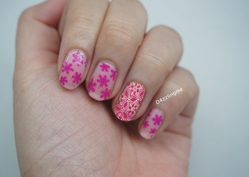 Pink Snowflakes nail art by D4zzling Me