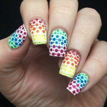 Rainbow Dotticure nail art by Michelle