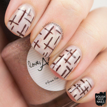 Brown neutral cross hatch smush nail art 4 thumb370f