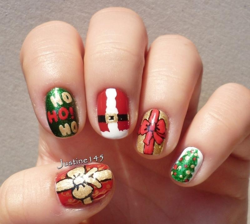 Santa nails nail art by Justine145