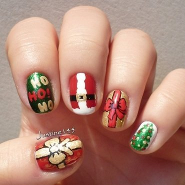 Santa nails nail art by Justine145