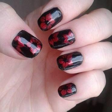 Black&Crimson flowers nail art by Barbora Balejova