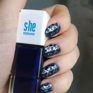 Blue&Green damask pattern nail art by Barbora Balejova
