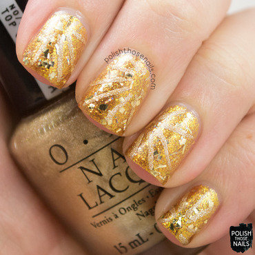 Gold monochrome sparkly line nail art 4 thumb370f