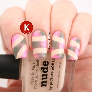 Nude, khaki and pink abstract design nail art by Claire Kerr