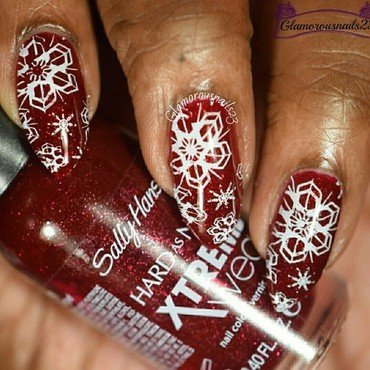 WNAC December 2015: Snowflakes  nail art by glamorousnails23