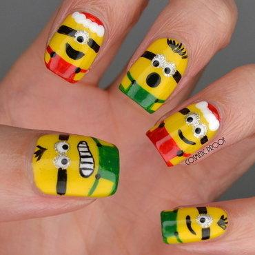 Merry Christmas Minions nail art by Jayne