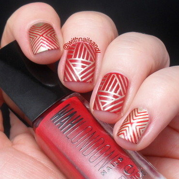 Red and Gold nail art by WithnailsandI