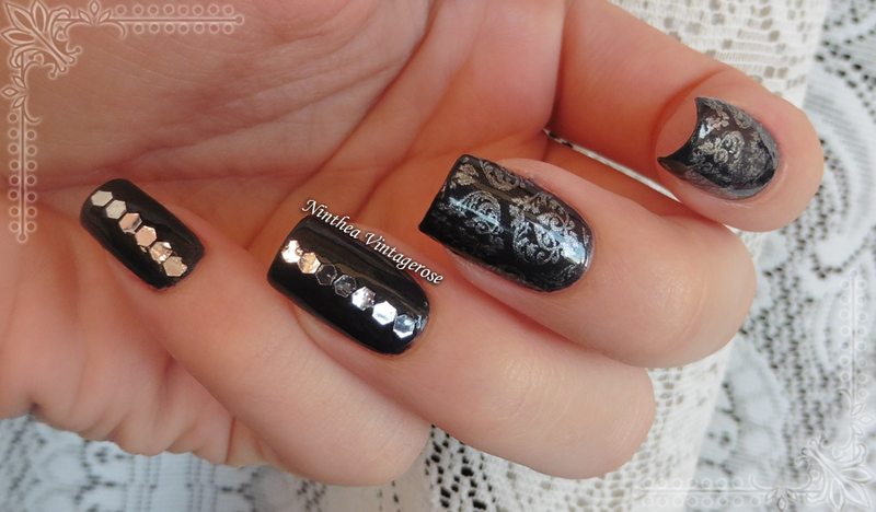 silver illusion nail art by Ninthea