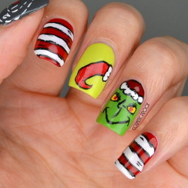 The Grinch Christmas Nails  nail art by Jayne