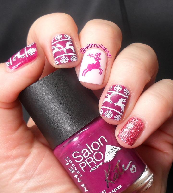 Reindeer Nail Art: Pink Reindeer Nail Art By WithnailsandI
