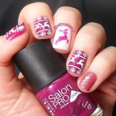 Pink Reindeer nail art by WithnailsandI