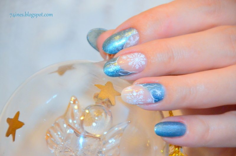 Angel in the snow nail art by 74ines