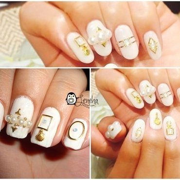 White Japanese Nails nail art by Leneha Junsu