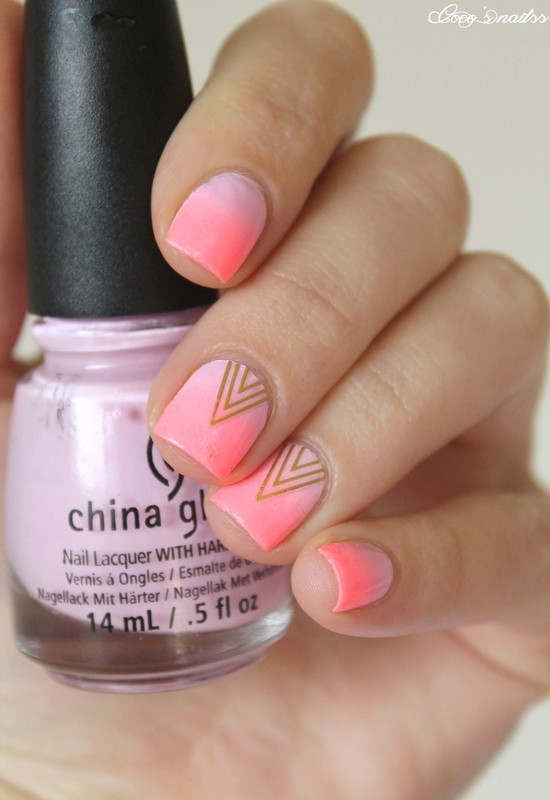 Gradient & Triangles nail art by Cocosnailss