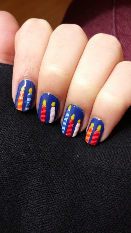 hanukkah candles nail art by Maya Harran